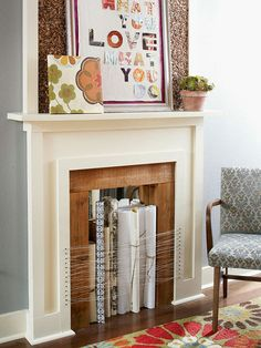 Fireplaces are either a decorator's dream or worst nightmare. Fake your way to fabulous by standing rolls of leftover wallpaper or gift wrap in a nonworking fire box and secure the grouping with string.