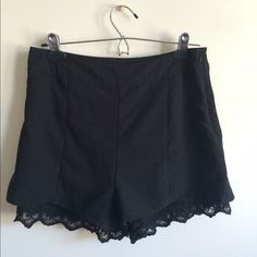 Lace underlay shorts High waisted short with lace detail underneath. Forever 21 I wore them a handful of times, really goes with anything! Forever 21 Shorts