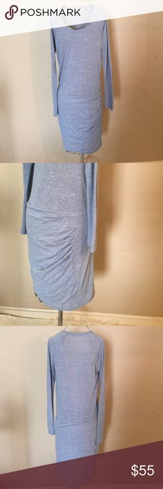 "Bella Luxx XS ""Raglan Tulip Dress"" NWOT Bella Luxx XS Marble Raglan Tulip Dress. Fully lined cross front mini skirt with side tuck detail. Smoke free pet free home. Hits at hips. 16' Bust, 35' Length, 27' sleeve. Bella Luxx Dresses Mini"