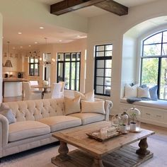 This home is absolutely beautiful, slide to see more 😍. Farm House Living Room, Modern Farmhouse Dining Room Decor, Farmhouse Living, Living Room Designs, House, Living Room Styles, Farmhouse Dining Rooms Decor, Beautiful Living Rooms, Room Design