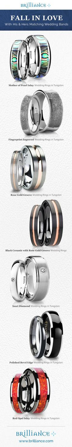 Some of the coolest and most unique his and hers matching wedding bands by Brilliance! Certainly one of the top wedding trends of 2016.