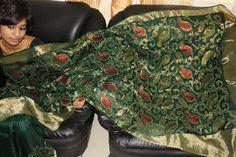 $140  Beautiful Emerald green saree with benarasi net appliqued all over the saree.. Green Saree, Saree Wedding, Emerald Green, Sarees, Create, Beautiful