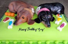 Birthday Cakes - I made this cake for a good friend of ours. His wife requested a Doxie cake so I thought that I would do a cake of their Doxies and the pillow that they lay on.