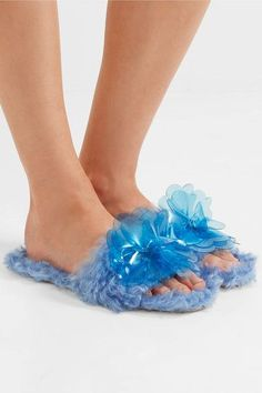 Shop on-sale Embellished faux shearling slides. Browse other discount designer Flat Sandals & more luxury fashion pieces at THE OUTNET Jennifer Fisher, Fur Slides, Flat Sandals, Discount Designer, Miu Miu, Shoe Boots, Luxury Fashion, Eccentric, Blue
