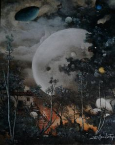 Super moon in the forest  Oilpaintingoncanvas  Painter.Selim Güventürk  40x50 cms.dim. Ankara (Sold )