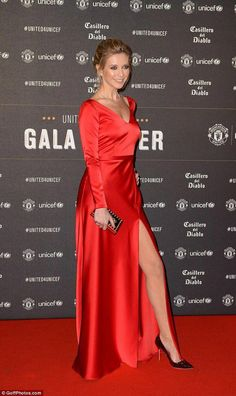 Rachel Riley flaunts legs in gown at Man United Unicef Gala Dinner is part of Shoes heels classy - The Countdown presenter looked incredible in a bright red silk dress featuring a sexy thighhigh split as she arrived at Old Trafford on Wednesday night Heels Outfits, Classy Outfits, Shoes Heels, Dress Shoes, Rachael Riley, Red Silk Dress, Hot High Heels, Black Heels, Popular Dresses