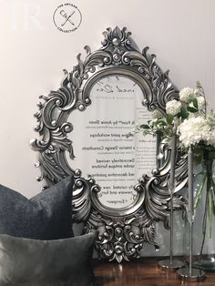 Henrietta :  Antiqued dark silver leaf bevelled mirror Beveled Mirror, Mirrors, Artisan, Leaves, Colours, Antiques, Dark, Silver, Inspiration
