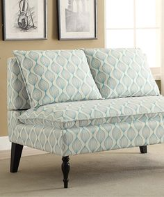 Blue Geometric Banquette by Home Meridian International #zulily #zulilyfinds