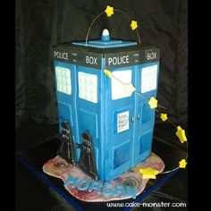 A Dr Who Tardis cake complete, for my niece.