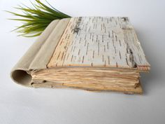 Personalized vintage journal with birch bark by ExiArtsEcoCrafts