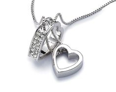Heart Pendant £15.00 The sparkling crystals make this heart-in-heart pendant very eye catching. Made with CRYSTALLIZED Swarovski elements. Approx. 20cm long with claw style fastening.