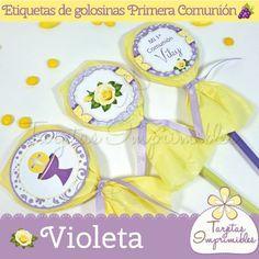 Etiquetas de golosinas para candy bar violeta
