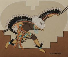 Mineral Earth Painting of Pueblo Eagle Dancer by Pablita Velarde 1918-2006 Tse Tsan - Golden Dawn of Santa Clara Pueblo