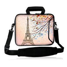 "FSHB10-005 NEW Eiffel Tower 9.7"" 10"" 10.1"" 10.2 inch Neoprene Laptop Netbook tablet Shoulder Case Carrying sleeve Bag cover with strap Pocket For Apple iPad Air iPad"