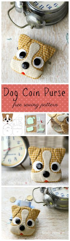{Free Sewing Pattern) Cuteness Overload Jack Russell inspired Dog Coin Purse