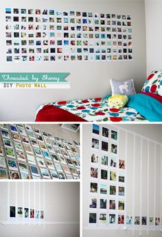 My sister made this DIY photo wall inside her college apartment room. I think the hardest part about this is trying to pick out which . Polaroid Wand, Polaroid Display, Photo Polaroid, Diy Polaroid, Instax Wall, College Living Rooms, Diy Room Decor, Bedroom Decor, Photo Deco