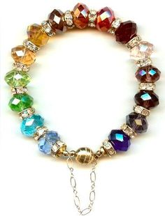 Rainbow Rondelle Bracelet  Gorgeous colors. And what a clever idea to use the chain on either side of the clasp! I think I would use that as an excuse to dangle one tiny charm.
