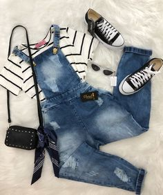 Dungarees (h&m), shirt (primark/h&m), shoes (h&m/newlook/primark) Teenage Outfits, Teen Fashion Outfits, College Outfits, Cute Fashion, Outfits For Teens, Fall Outfits, Girl Fashion, Summer Outfits, Cute Casual Outfits