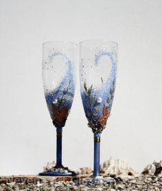 Beach Wedding Champagne Glasses Toasting Flutes by NevenaArtGlass, $54.90