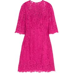 Dolce & Gabbana Floral-lace mini dress (€1.650) ❤ liked on Polyvore featuring dresses, pink, short pink dress, short dresses, 3/4 sleeve lace dress, mini dress and short lace cocktail dress