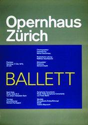 """""""Ballett"""" Poster, Opernhaus Zürich, 128 x 90 cm (50,40 x 35,50 inch), 1970"""