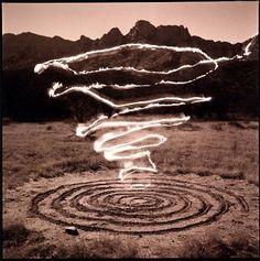 stu jenks photographer & creator of flame & earth spirals at Catalina State Park, Arizona