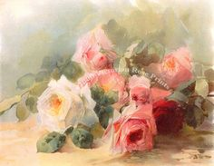 Print FREE SHIP Summer Roses by Emil Aulich by VictorianRosePrints, $11.99