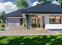 Wizualizacja ARP PADME 3 WZ CE Small Modern House Exterior, Small Modern Home, Modern House Plans, House Front, My House, House Plans Mansion, Three Bedroom House Plan, Construction Design, Architect House