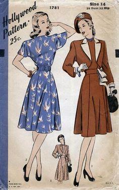 OMG THAT FABRIC!!! Hollywood 1781 Dress and Bolero Bust 32 Still in factory folds Circa 1946  $37 via Blue Gardenia Vintage Patterns