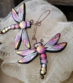 Polymer clay Dragonflies in the evening earrings by ImpastArte