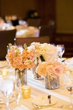 This creative spring wedding at Chicago's Ravenswood Event Center was full of gold, navy and silver decor with beautiful peonies and roses. Floral Wedding, Wedding Flowers, Pink And White Weddings, Warehouse Wedding, Table Arrangements, Flower Arrangements, Ballroom Wedding, Four Seasons Hotel, Elegant Table