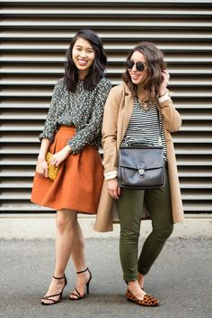 Grey and white knit, burnt orange midi skirt, and strappy heels. Camel coat, striped shirt, green jeans, and leopard flats.