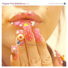 3D nails, decoden, gyaru, Japanese nail art, lolita cherry pie on pink... ($19) ❤ liked on Polyvore