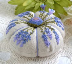 Black Eyed Susan Linen Pincushion    Lavender and Linen Pincushion    Sometimes it you need to add that one last detail to take something fr...