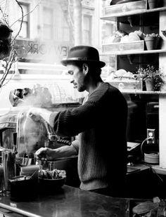 barista making coffee, black and white barista
