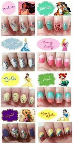 Disney princess nail art!