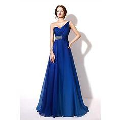 A-line One Shoulder Floor-length Chiffon Formal Evening Dress – USD $ 99.99
