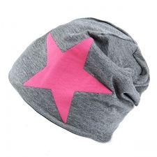 Harmaa pipo pinkillä tähdellä