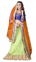 Multicolor CVT Crush Embroidered Unstiched Lehenga Choli And Dupatta set