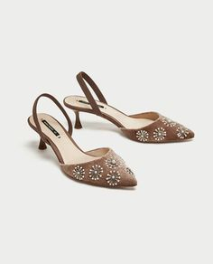ZARA - WOMAN - EMBROIDERED VELVET SLINGBACK SHOES