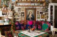 Oh my! I love this room... bohemian sofa... virgen de guadalupe... mary... amazing!