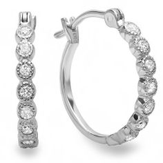 0.25 Carat (ctw) 10K White Gold Round White Diamond Fine Hoop Earring 1/4 CT DazzlingRock Collection. $179.00. Diamond Color / Clarity : I-J / I2-I3. Weighs approximately 1.21 grams. Diamond Weight : 0.25 ct tw.. Crafted in 10K white-gold. Save 71% Off!