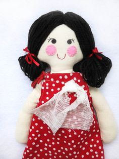 LUCY handmade doll with 3 outfits / Rag doll with by Lilolimon / Muñeca para vestir