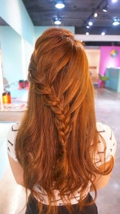 RULeR Hair Dressing Japan makoto ishii - Home Down Hairstyles, Pretty Hairstyles, Girl Hairstyles, Braided Hairstyles, Bridesmaid Hair, Prom Hair, Long Red Hair, Pinterest Hair, Ginger Hair