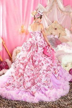 very cool dress / contrast with floral pattern dball ~ dress ballgown