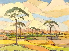 Artist: Jacob Hendrik Pierneef (South African, Title: An extensive view of farmlands, c Medium: Oil on Canvas Art Et Illustration, Landscape Illustration, Landscape Art, Landscape Paintings, Illustrations, African Paintings, Contemporary African Art, South African Artists, Art Gallery