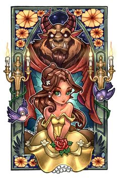 "Beauty & the Beast stained glass ""Ciao Bella!"" by Tim Shumate Disney Pixar, Walt Disney, Disney Fan Art, Disney And Dreamworks, Disney Animation, Disney Love, Disney Magic, Disney Belle, Princesa Ariel Disney"