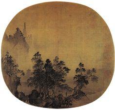 """《烟岫林居图》  宋 夏圭 绢本水墨 纵25厘米 横26.1厘米 北京故宫博物院藏     夏圭作画善于用概括的笔墨,写实的物形,巧妙的结构,大胆的剪裁,从而创造出一种具有夏圭独特风格的水墨酣畅的艺术风格。此画作圆形,原为纨扇,左上方画烟蔼远山,迷蒙深幽,下为林木坡石,后有茅屋两间,山涧溪水上架一木桥,一人弯腰策杖而行。此画山石用笔劲峭,林木简练淋漓,构图独特,将所画物象集中于画面的左下方,这也是""""夏半边""""的体现。"""