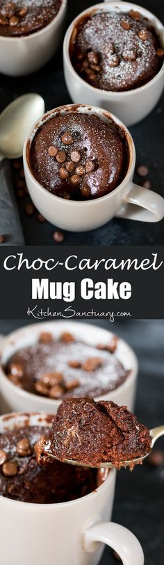 Caramel chocolate mug cake – filled with Rolos – when you need dessert NOW! The perfect quick dessert for one. Easily made gluten free too!