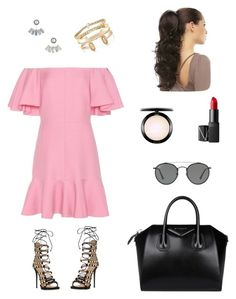 """Sunset"" by anaislwt ❤ liked on Polyvore featuring Valentino, Giuseppe Zanotti, Givenchy, Aéropostale, Kendra Scott, Delfina Delettrez, NARS Cosmetics, MAC Cosmetics and Ray-Ban"